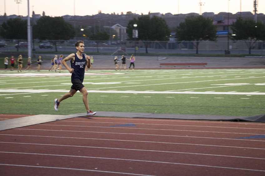 Sophomore Miguel Ramirez, an exercise science major from Las Vegas, runs at cross country practice early Friday morning.  Photo by Adriana Hymas.