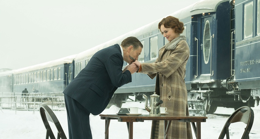 Kenneth Branagh and Daisy Ridley in a scene from Murder on the Orient Express. Courtesy of 20th Century Fox.