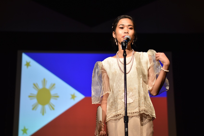 Miss Philippines Sheena Luy, a freshman biology major from Zamboanga City, Philippines, presents her cultural attire at Miss DSU International.