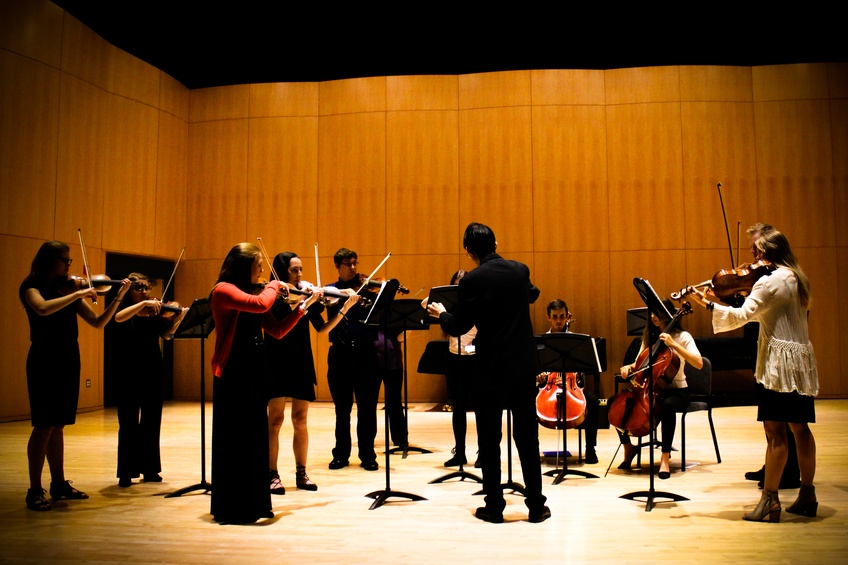 The Dixie State University chamber string ensemble performs on April 10. The students involved included six violinists, two violists, two cellists, a bassist, and a guitarist.