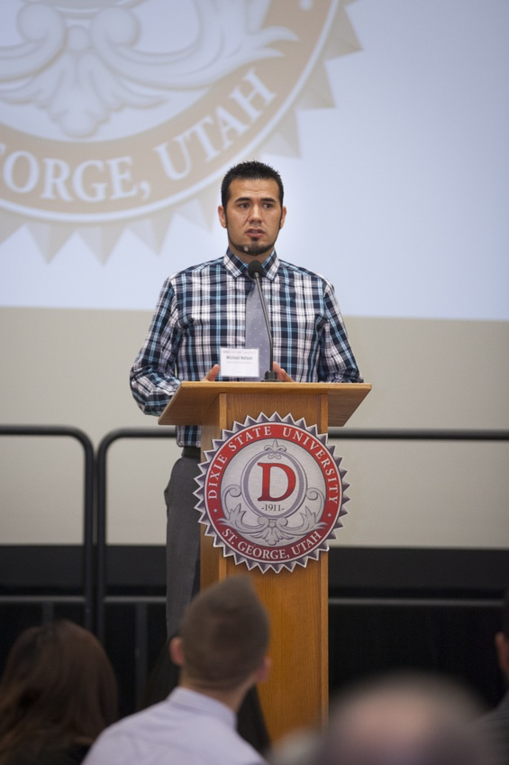 Mike Nelson, assistant director of the Multicultural Inclusion Center and Native American student adviser, gives a speech in the DSU Gardner Ballroom. Courtesy of Mike Nelson.