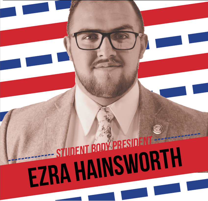 Ezra Hainsworth, a junior communication major from St. George, is named student body president.