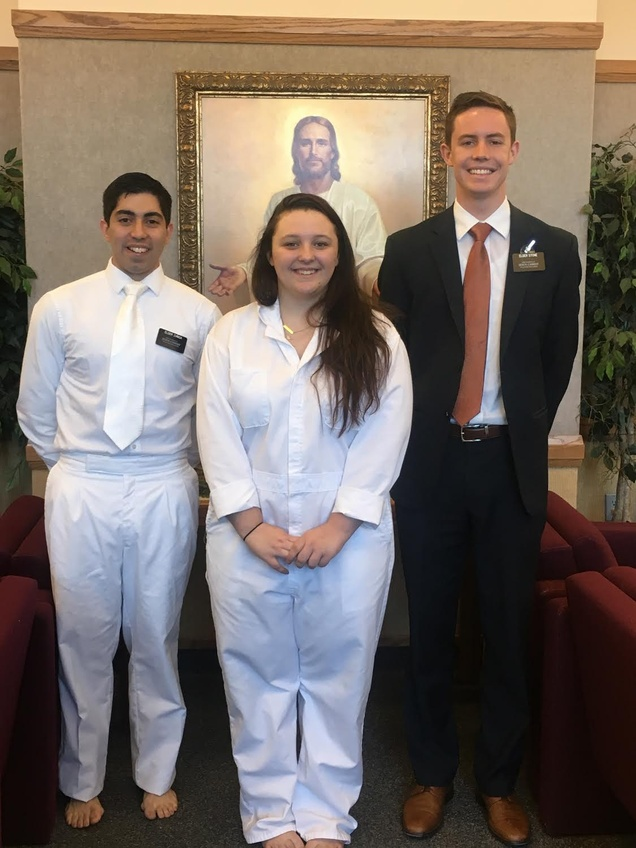 Staff writer Ryan Heinlen  with the missionaries who taught and baptized her. Courtesy of Heinlen.