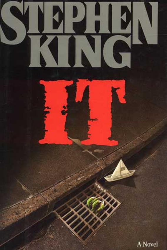 "The cover of Stephen King's novel ""It""."