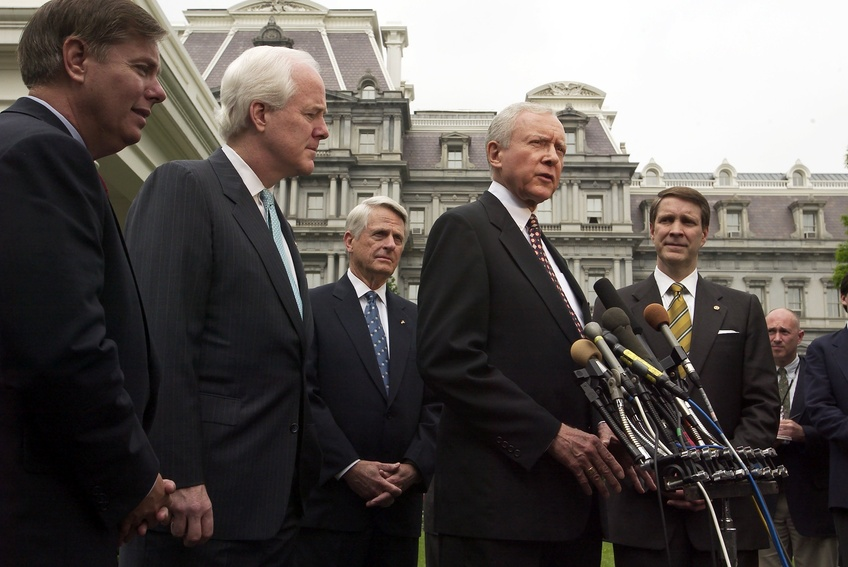 Sen. Orrin Hatch (R-UT), speaks on the judicial nomination process to reporters at the White House in Washington, D.C. May 9, 2003. TNS.