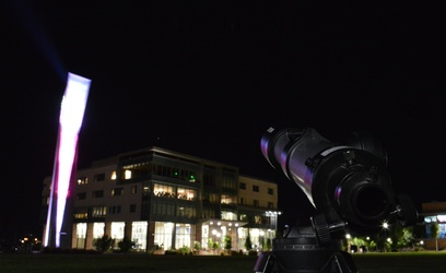A telescope rests near the clock tower on the upper encampment of Dixie State University. Photo by; Kylea Custer