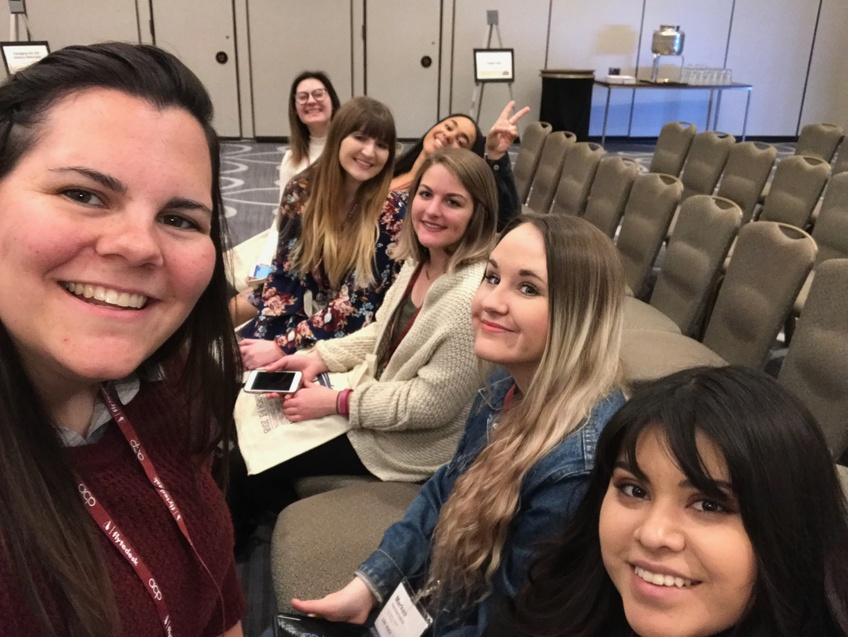 Editor-in-Chief Markee Heckenliable is with her fellow Dixie Sun editors at the ACP Midwinter National College Journalism Convention in March. Photo by Kylea Custer.